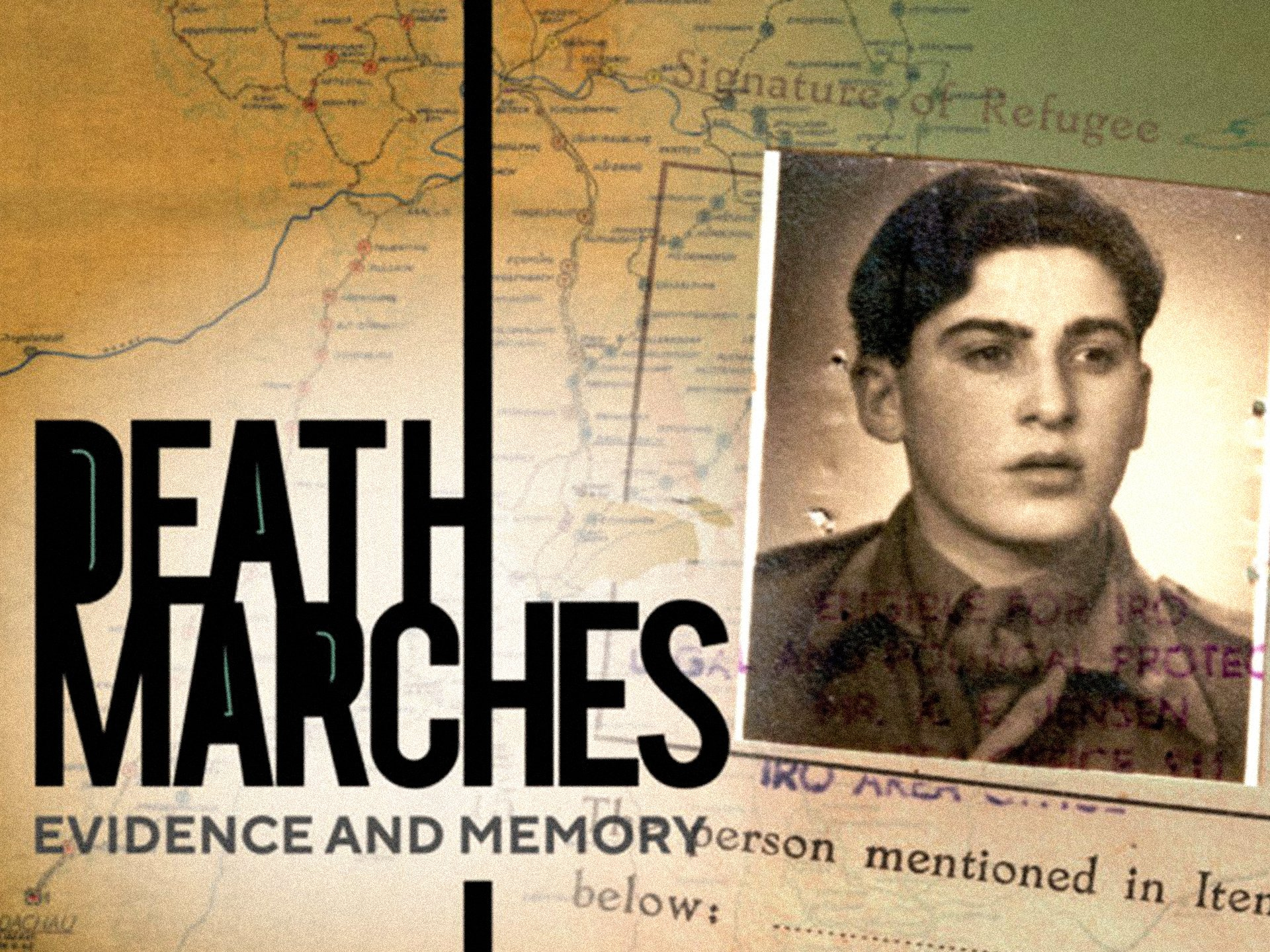 The title 'Death Marches: Evidence and Memory' accompanied by a photograph of survivor Eugene Black, with a map of a death march in the background.